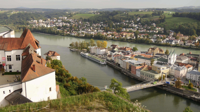 Aufnahme von Passau mit der Veste Oberhaus, Foto vom 27. September 2017