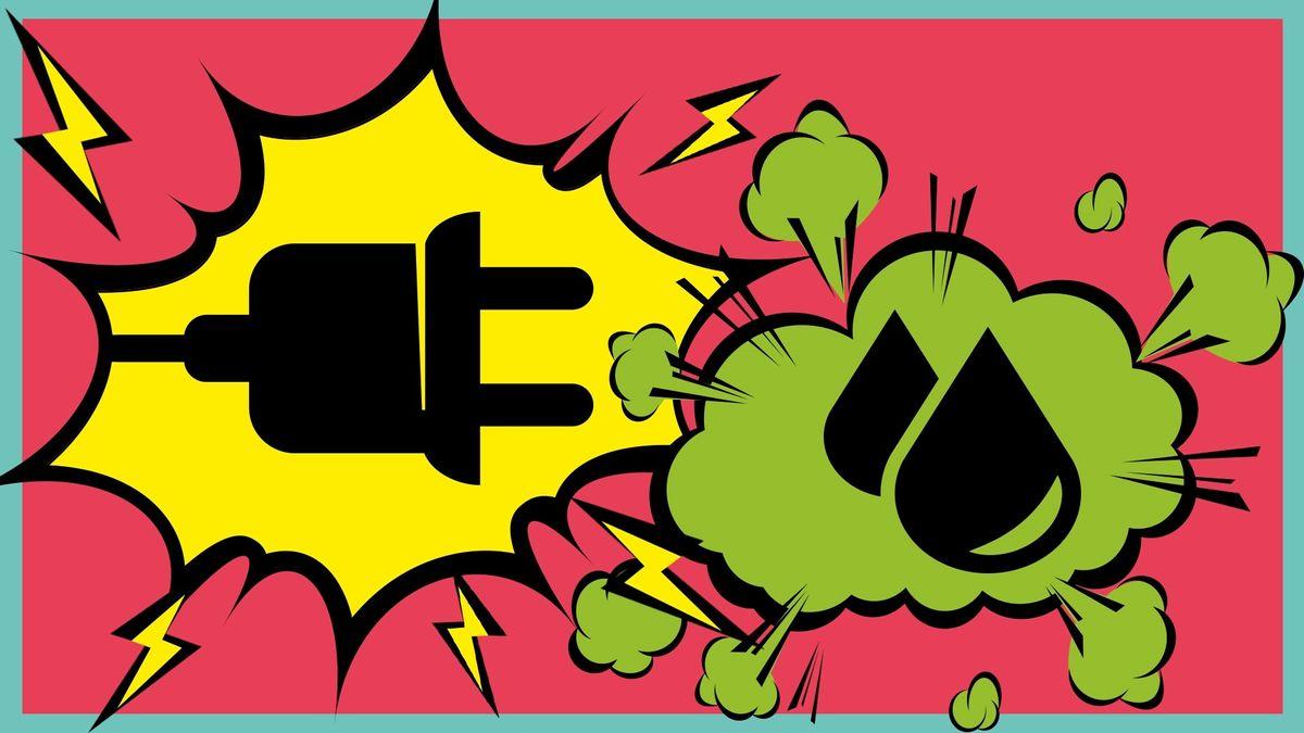 Comic-Symbole von Strom und Wasserstoff, die sich in Krawallblasen gegenüberstehen