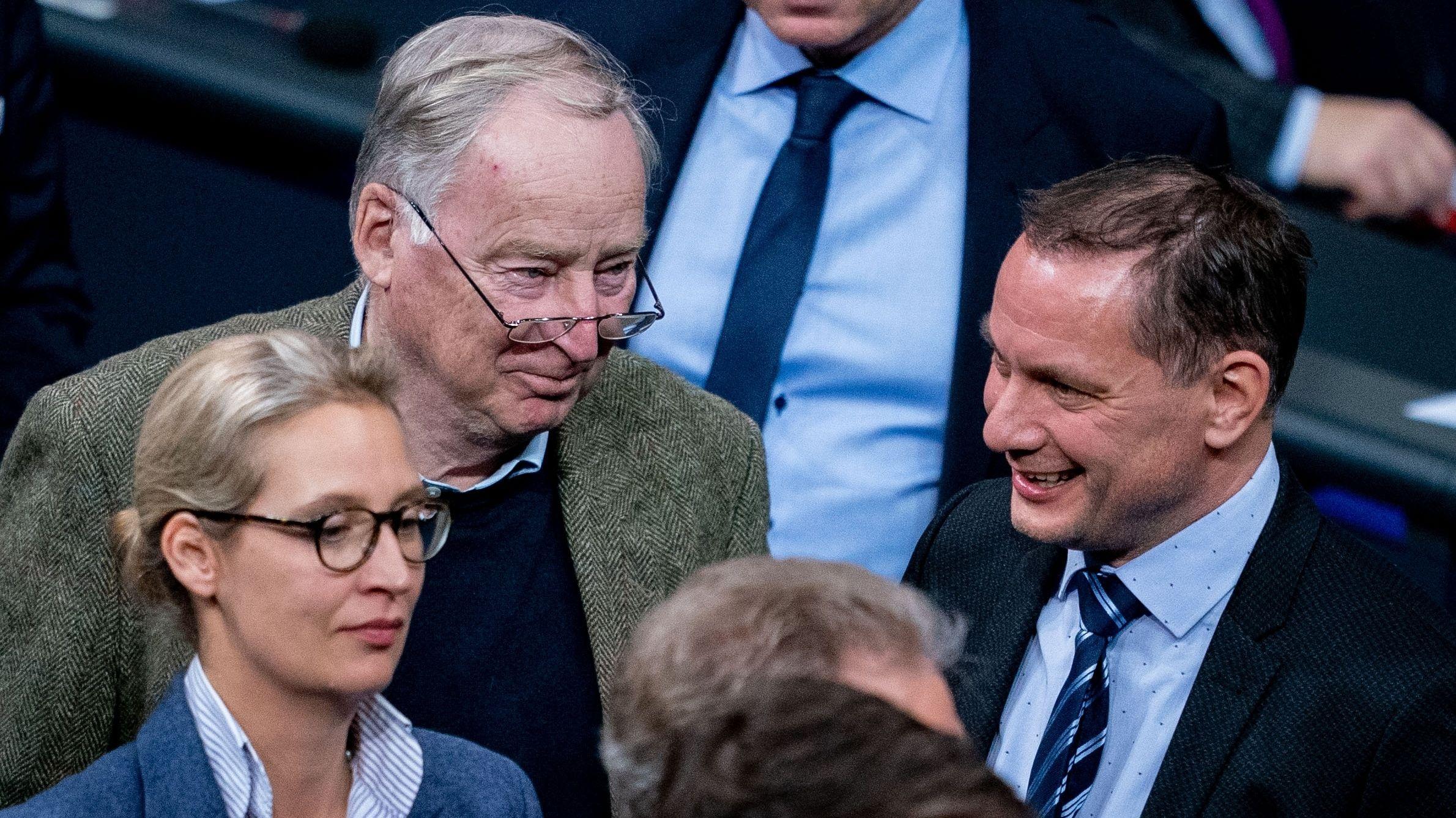 AfD-Politiker im Bundestag: Alice Weide, Alexander Gauland und Tino Chrupalla (v l. nach r.)