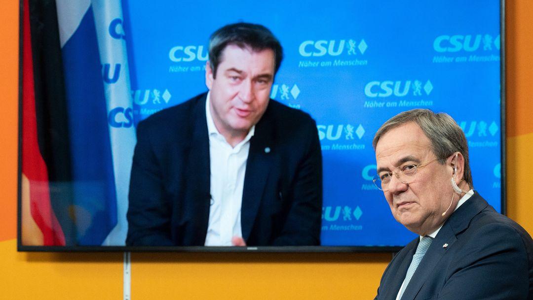 09.01.2021; Laschet und Söder beim digitalen Neujahrsempfang der CDU Nordrhein-Westfalen.