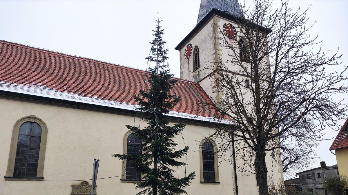 Weihnachtsbaum in Hausen bei Würzburg
