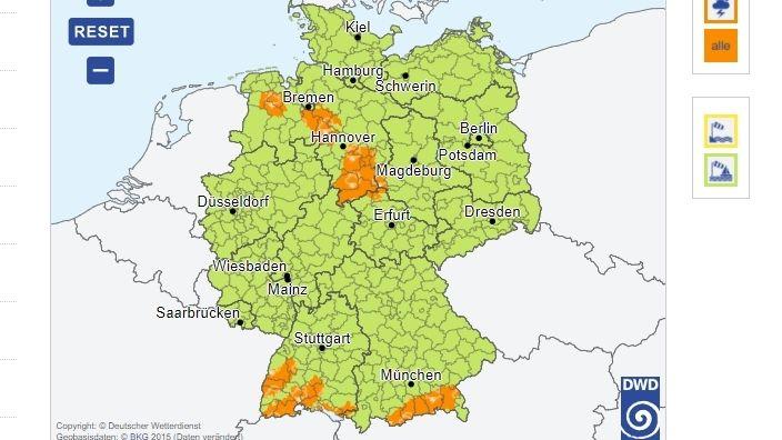 Keine Unwetterwarnung für Franken (Stand 00.30 Uhr)