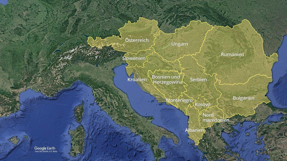 Satellitenkarte Berichtsgebiet ARD-Studio Südosteuropa