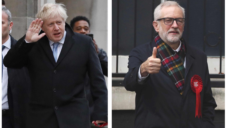 roßbritannien, London: Die Bildkombo zeigt links Premierminister Boris Johnson und rechts seinen Herausforderer Jeremy Corbyn.