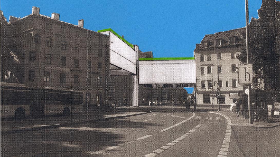 Und noch eine Idee zur Nachverdichtung in München: Schmale Brückenhäuser mit Dachgärten über den Kreuzungen.