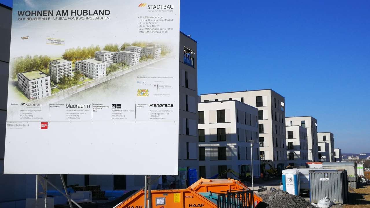 Bau von Wohnungen im Würzburger Stadtteil Hubland