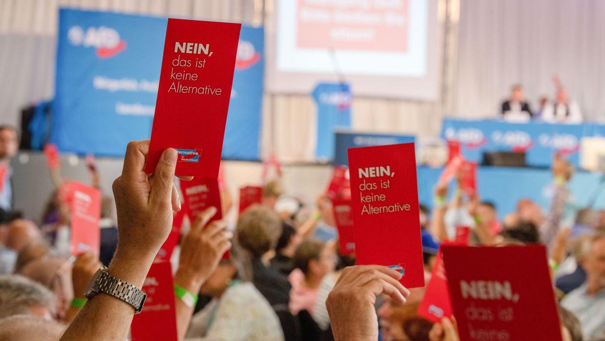 Parteimitglieder der Alternative für Deutschland stimmen während des Sonder-Landesparteitags der AfD Bayern 2019 mit Stimmzetteln ab