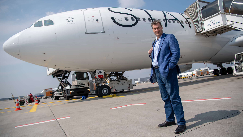 Ministerpräsident Söder vor dem Abflug nach Äthiopien