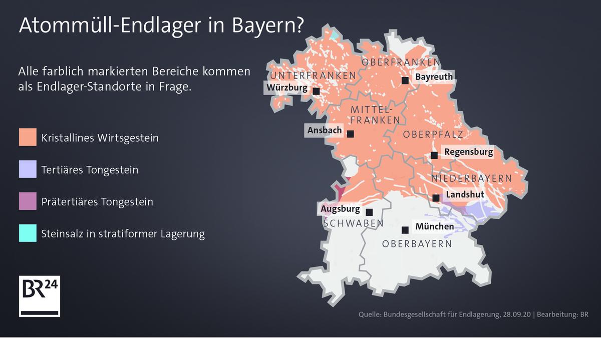 Eine Karte zeigt, welche Gesteinsarten in Bayern vorkommen.