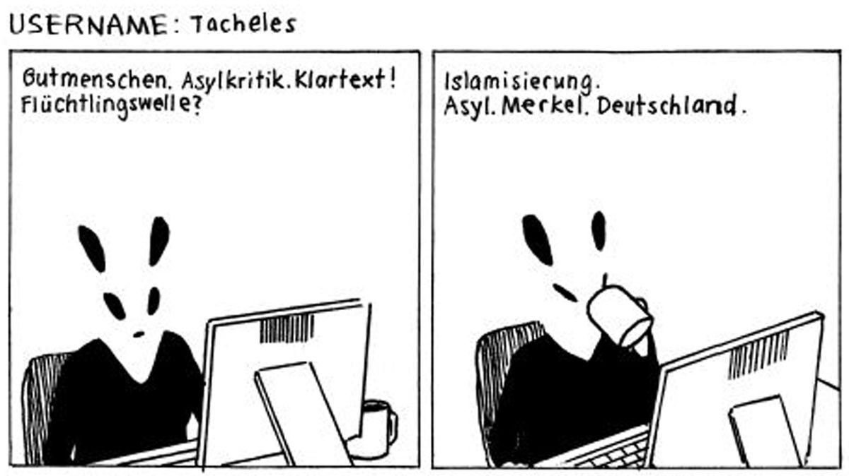 """Eine Bilderfolge in Schwarz-Weiß aus der Graphic Novel """"Über Spanien lacht die Sonne"""": Man sieht eine stilisierte Figur vor einem Computermonitor, der Körper ist menschlich, der Kopf ähnelt einem angedeuteten Hasen"""