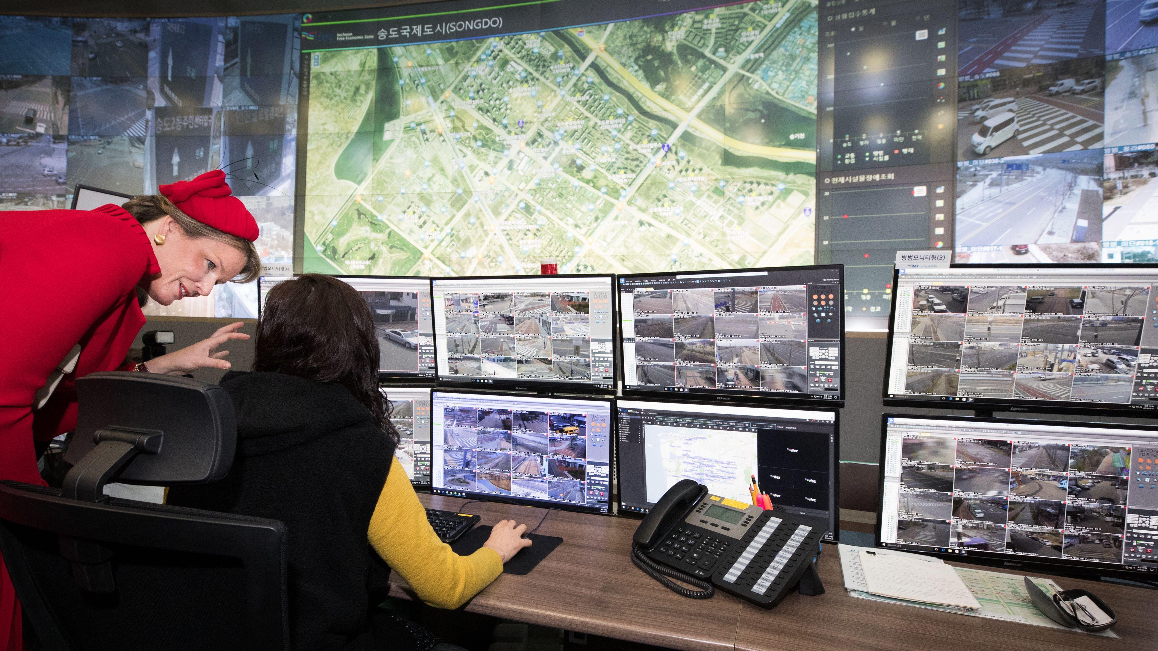 Kontrollraum in der südkoreanischen Smart City Songdo.