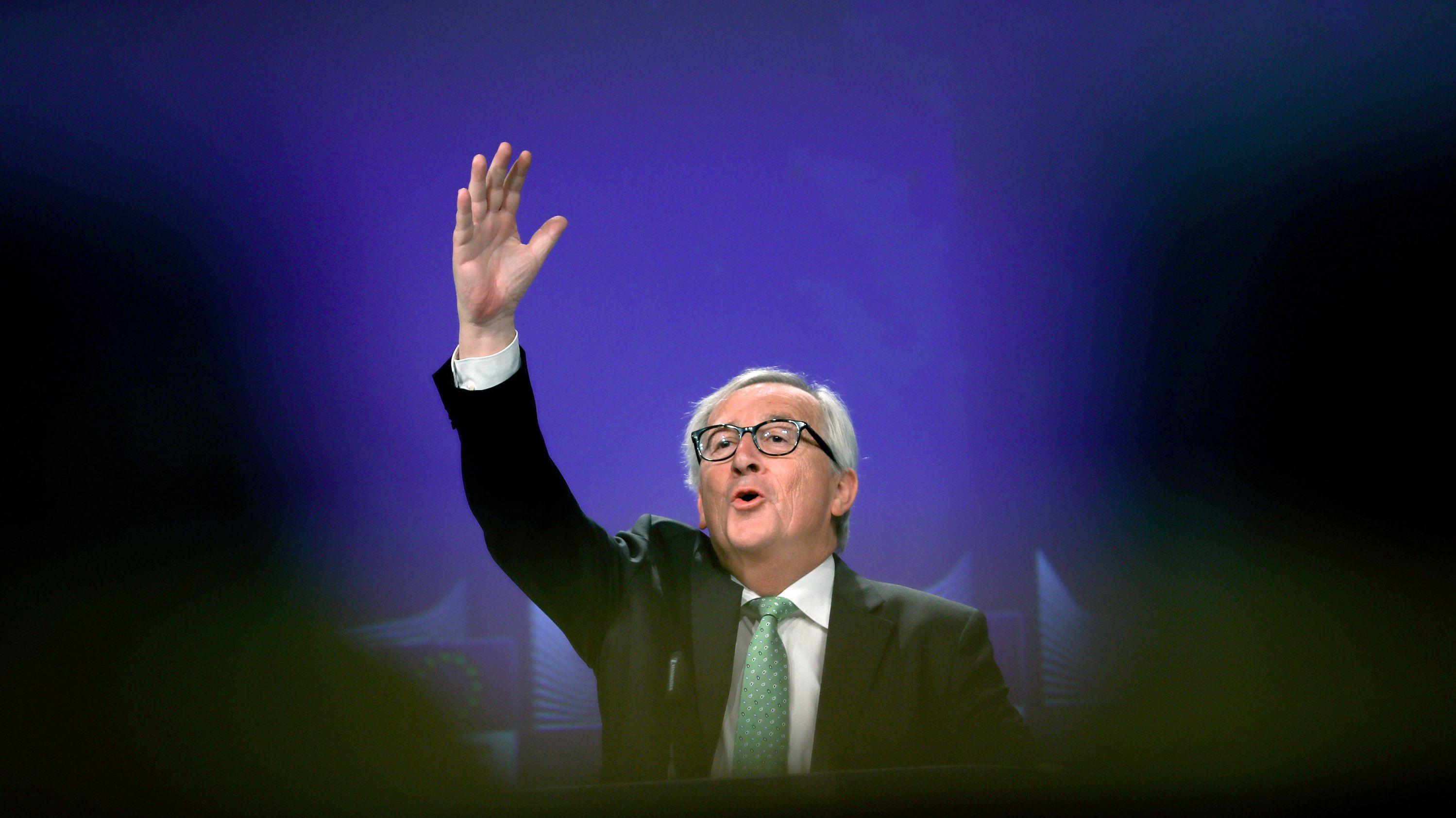 07.05.2019: Jean-Claude Juncker, Präsident der Europäischen Kommission, gestikuliert, als er bei einer Pressekonferenz seine Bilanz seiner Amtszeit als EU-Kommissionschef vorstellt