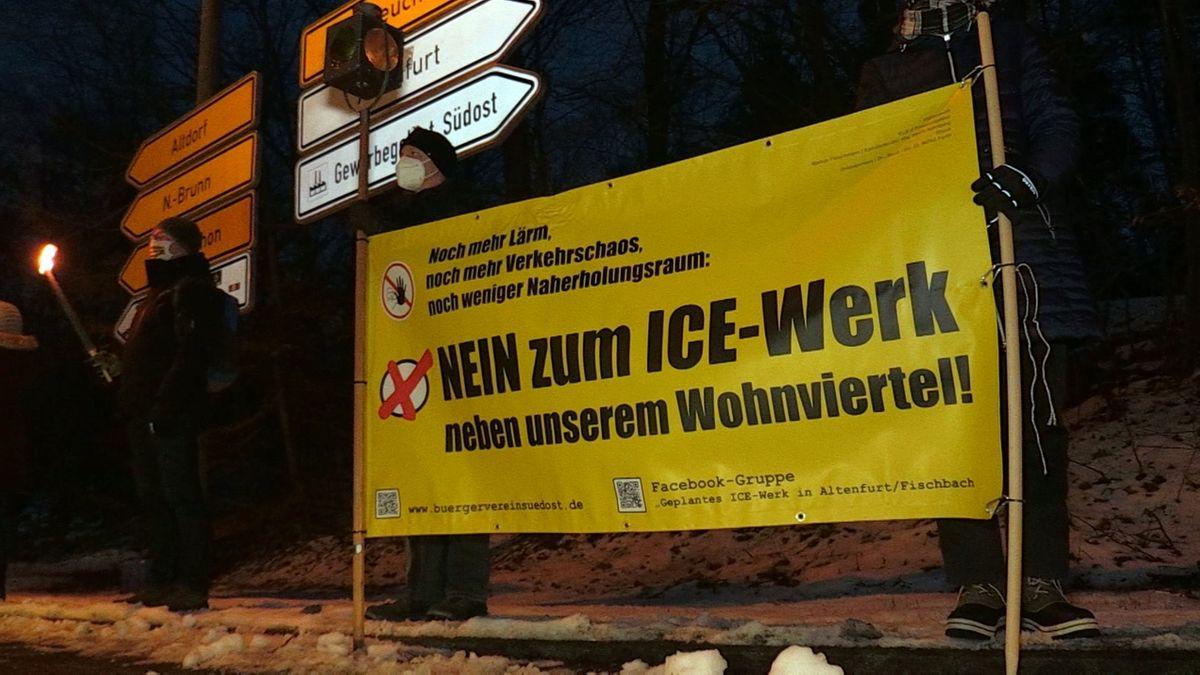 Protest gegen geplantes ICE-Werk in Nürnberg