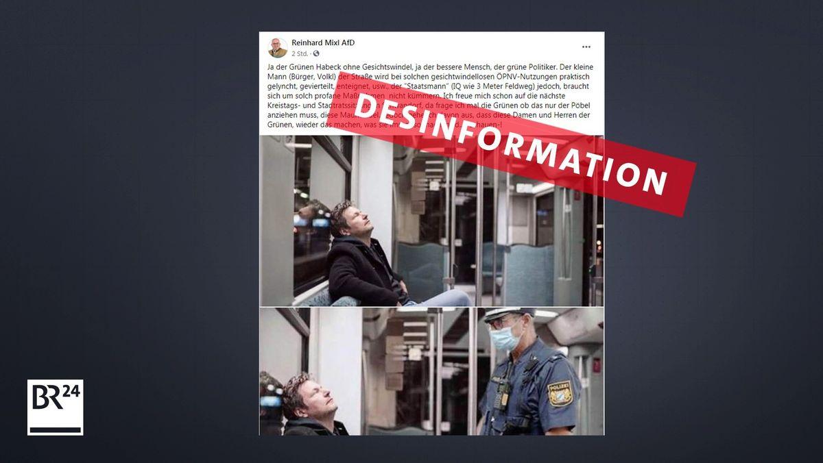 Das Bild zeigt einen Screenshot von dem Posting, das Mixl auf Facebook weiterverbreitete. Das Bild von Grünen-Chef Robert Habeck ist veraltet.