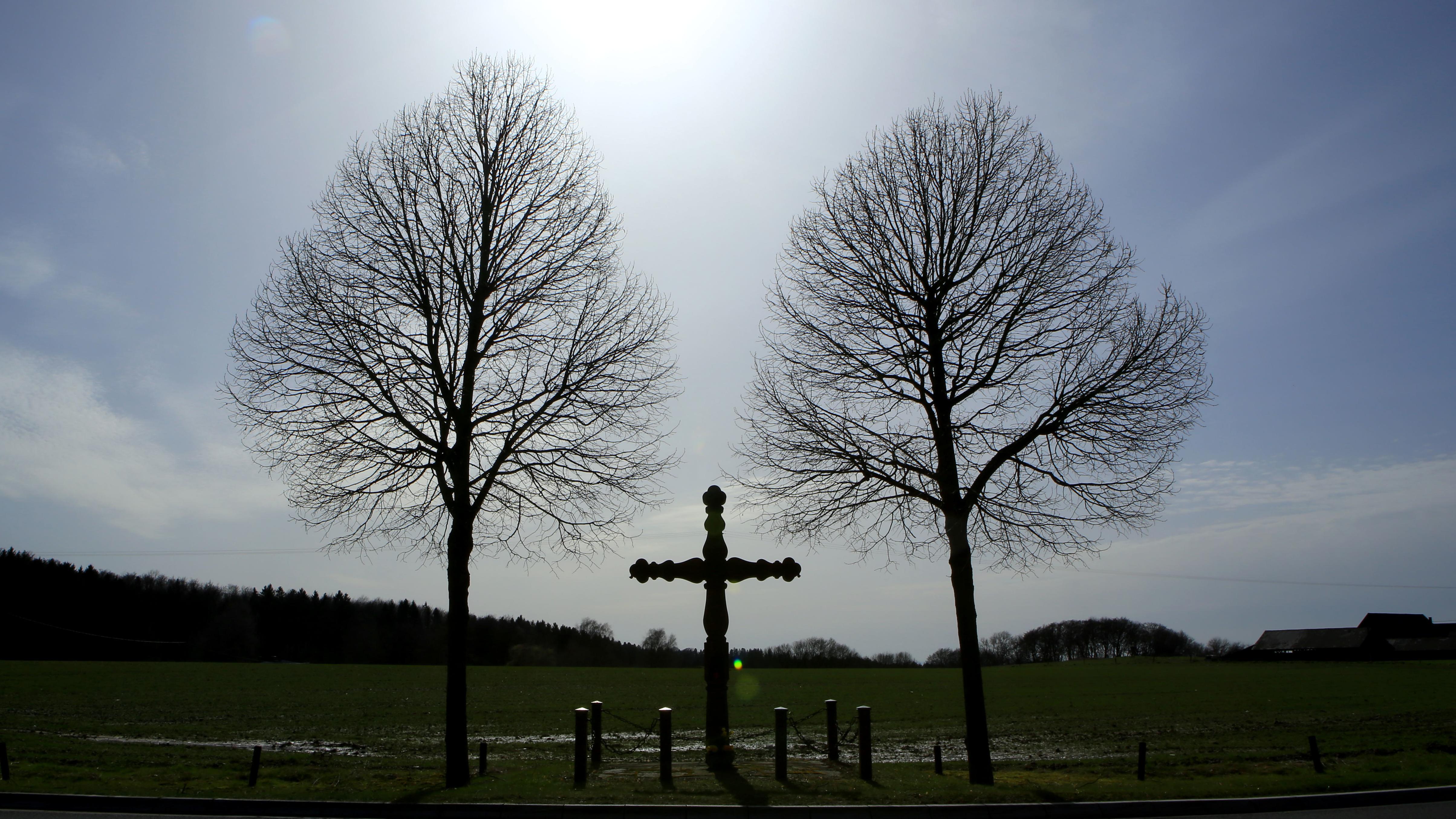 Ein Kreuz zwischen zwei Bäumen