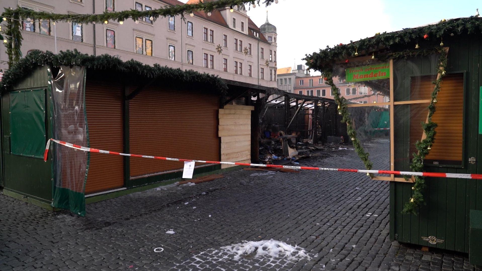 Mehrere Stände auf Augsburger Christkindlesmarkt abgebrannt