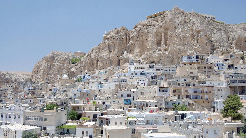Ausblick auf das Dorf Maalula, das in den Bergen nördlich von Damaskus liegt.