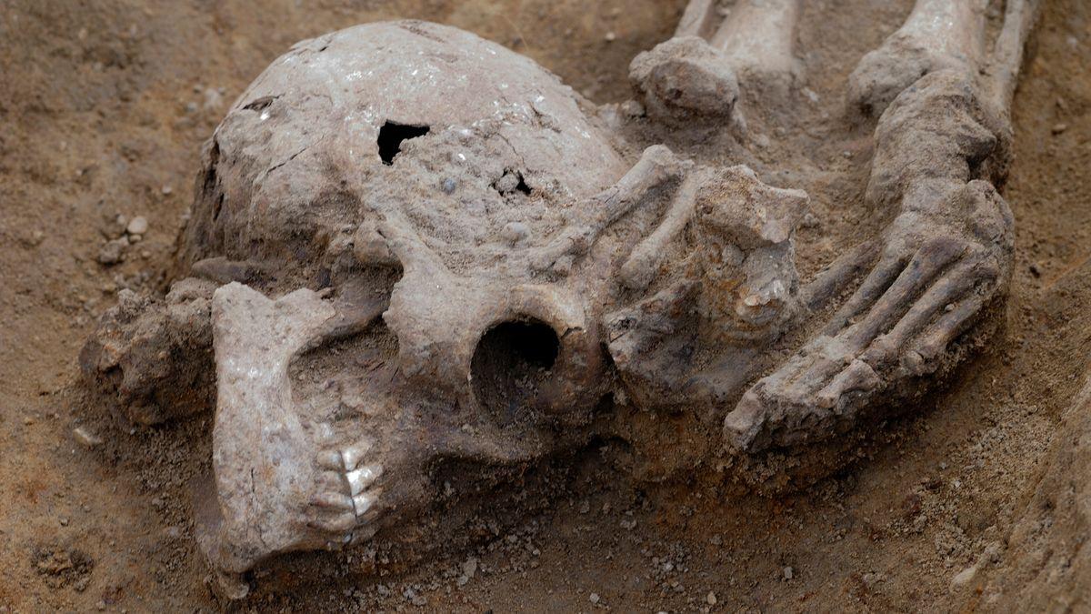 Kopf liegt zu Füßen eines Skeletts