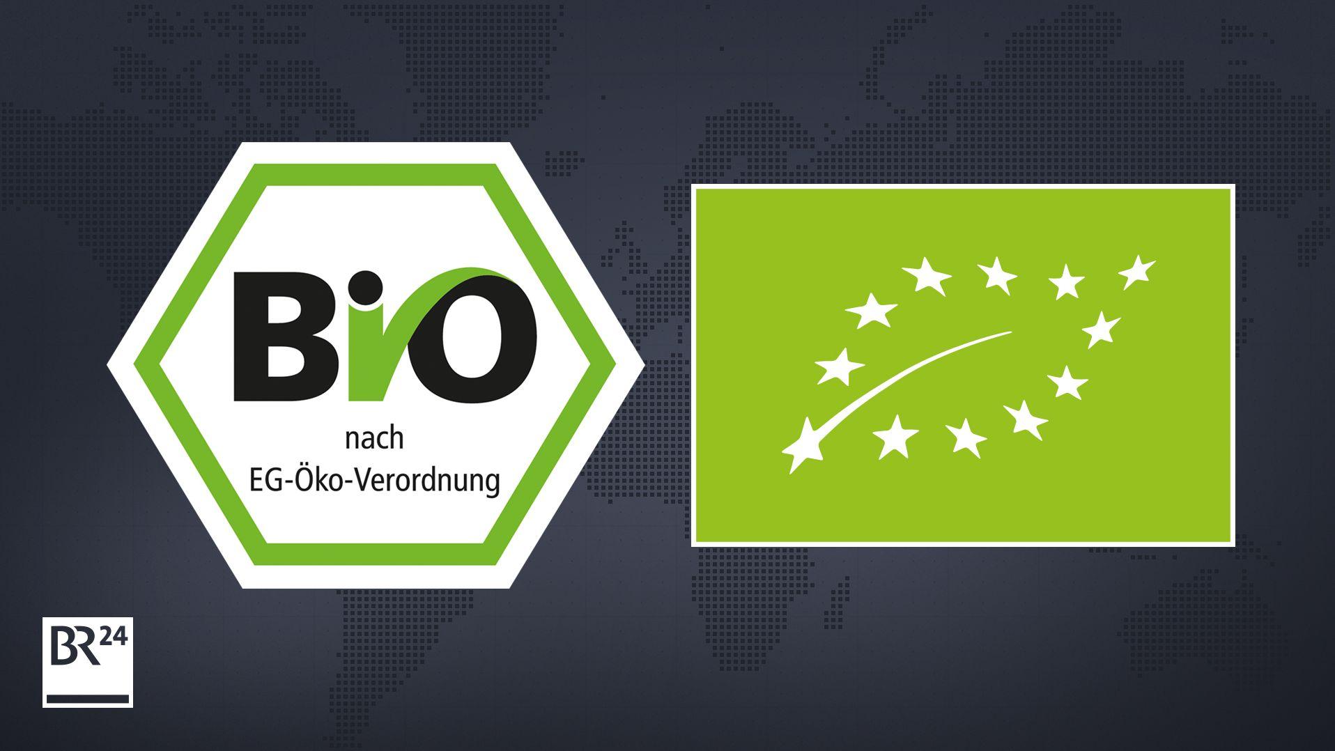 Das deutsche staatliche Bio-Siegel (links) und das EU-Bio-Logo (rechts)