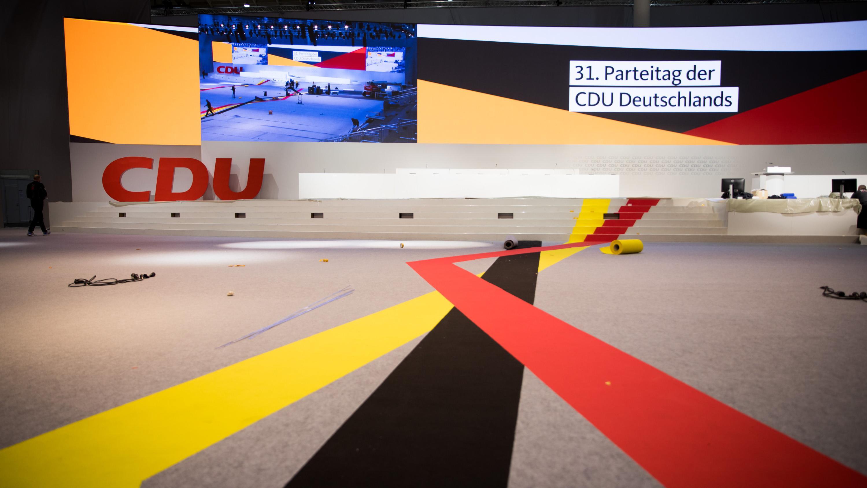 Letzte Vorbereitungen für den CDU-Parteitag