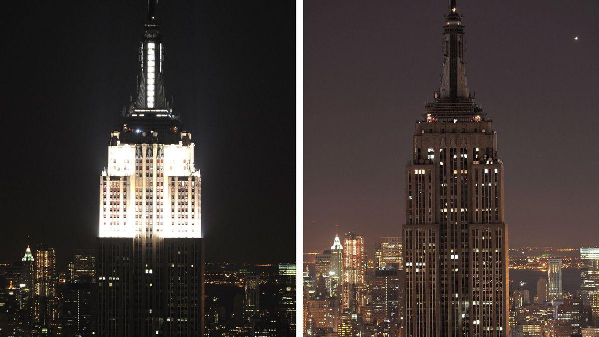 Das Empire State Building in New York vor und nach Beginn der Earth Hour am 27. März 2010