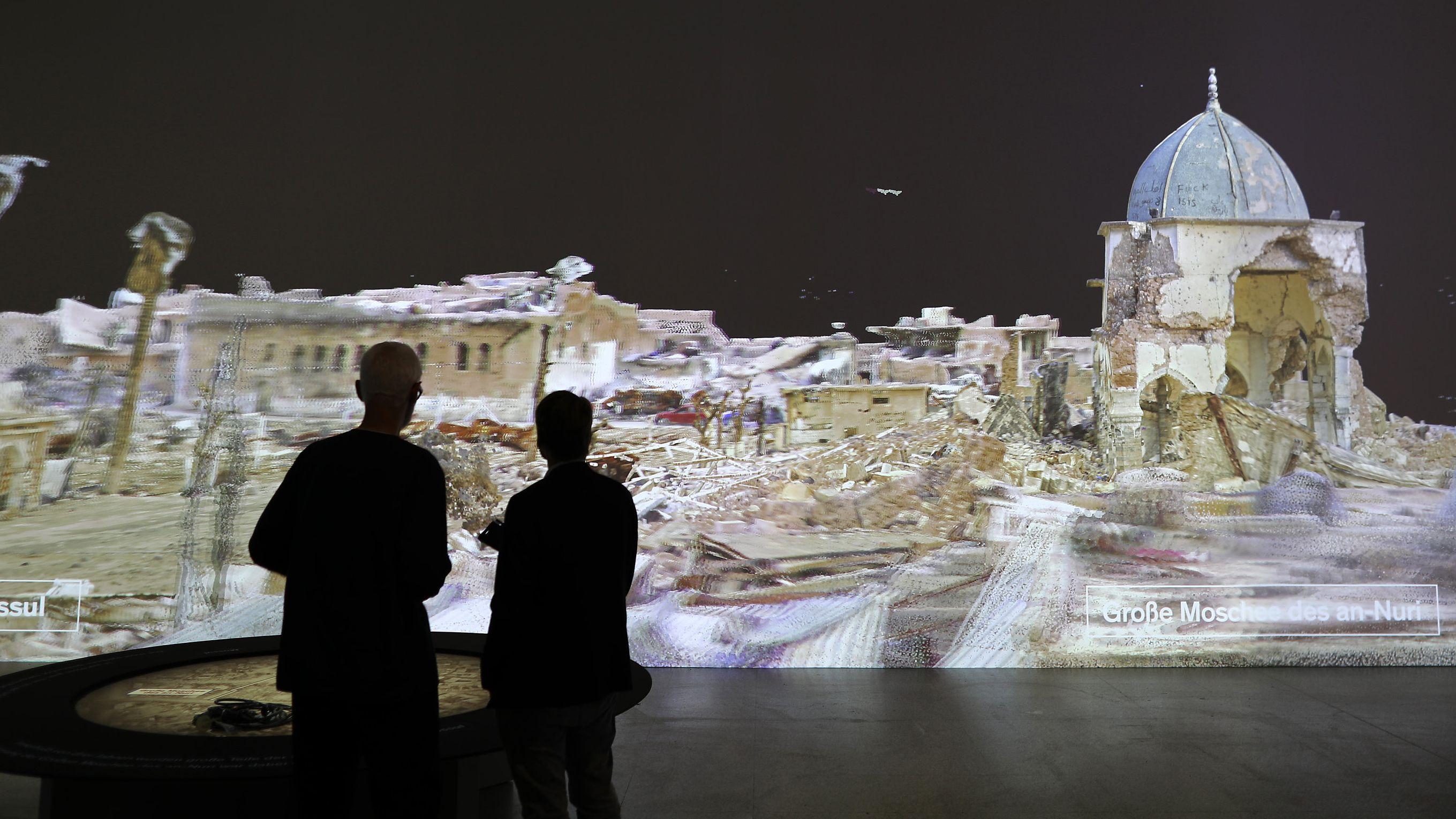 Die Bundeskunsthalle Bonn lässt antike Stätten virtuell wieder erstehen, wie die Trümmer der Moschee des an-Nuri in Mossul