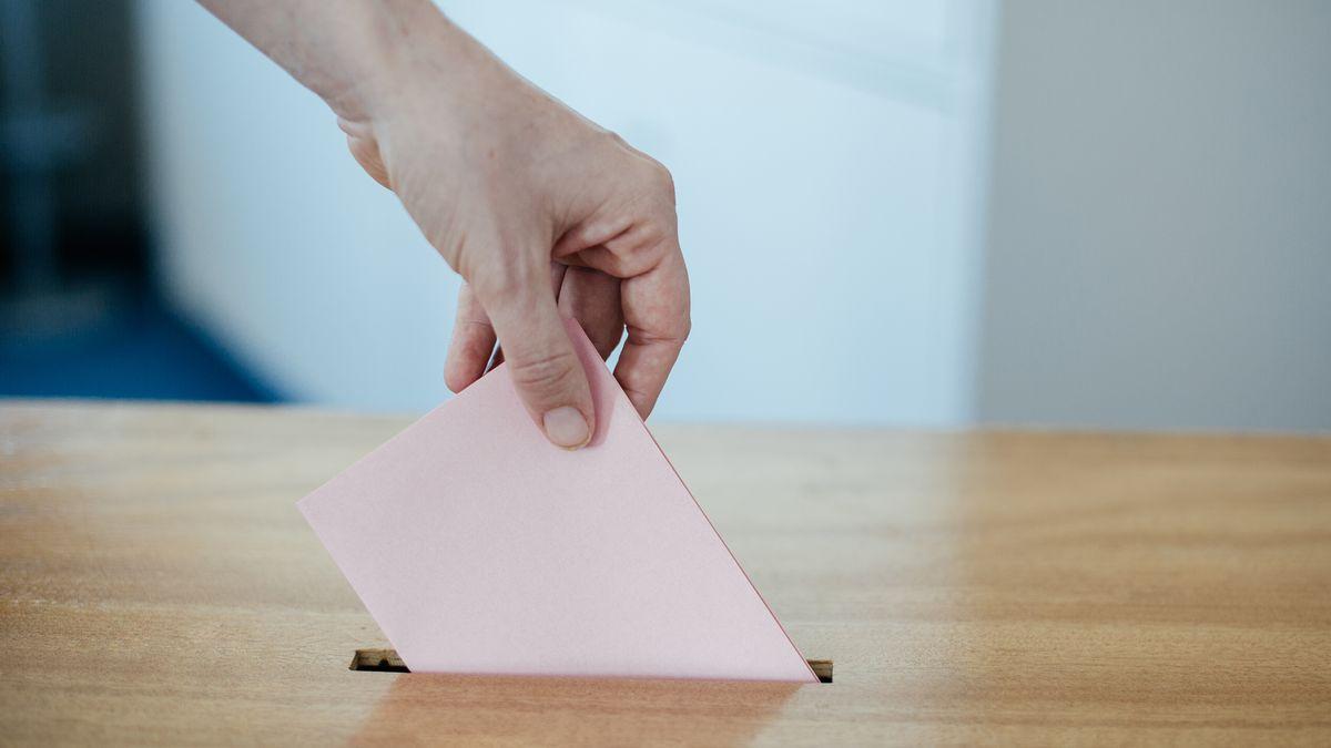 Eine Hand hält einen rosa Wahlzettel und steckt ihn in eine hölzerne Wahlurne.
