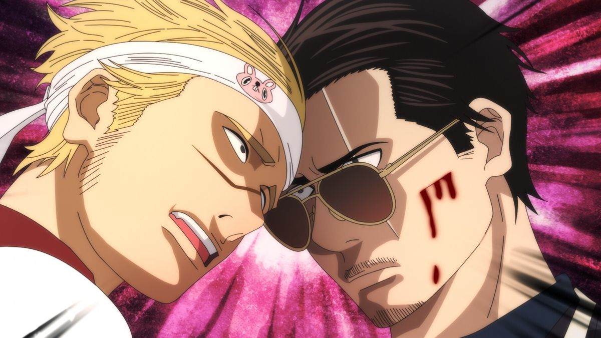 Zwei Manga-Figuren stoßen Kopf an Kopf zusammen
