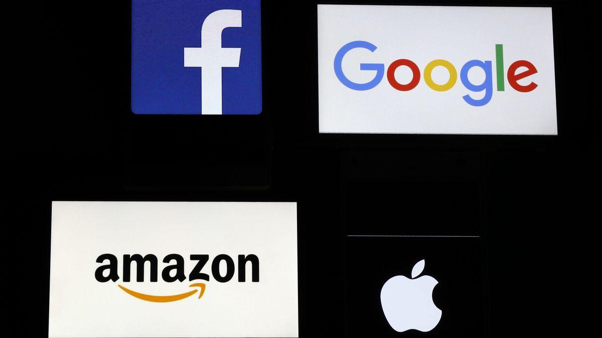 Logos von Facebook, Google, Amazon und Apple