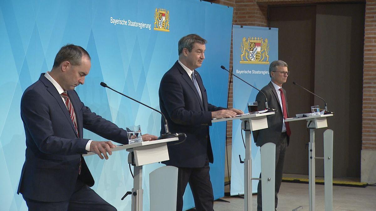 Aiwanger, Söder und Sibler bei der Pressekonferenz