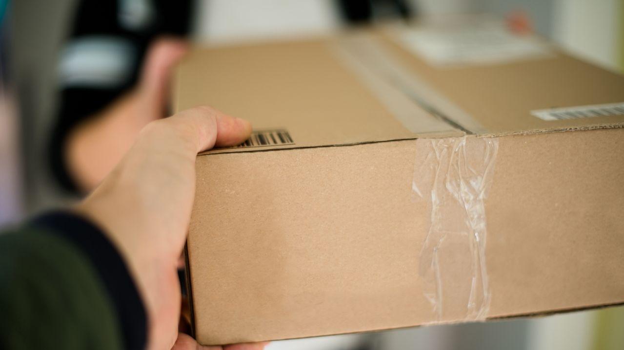 Paketbote überreicht Päckchen