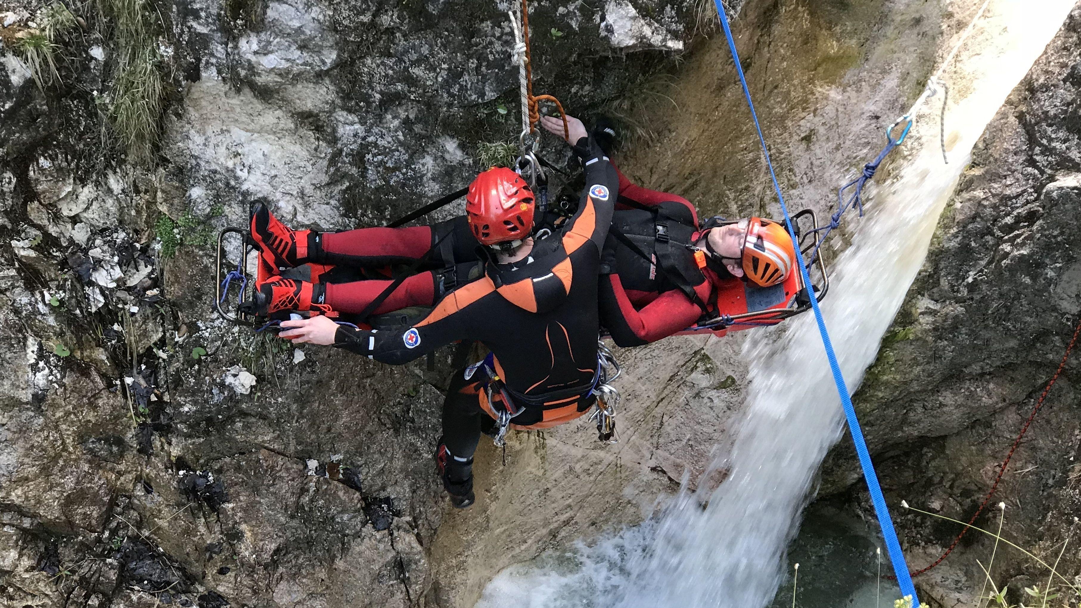 Übung der Canyoning-Gruppe Chiemgau in Bayerisch Gmain