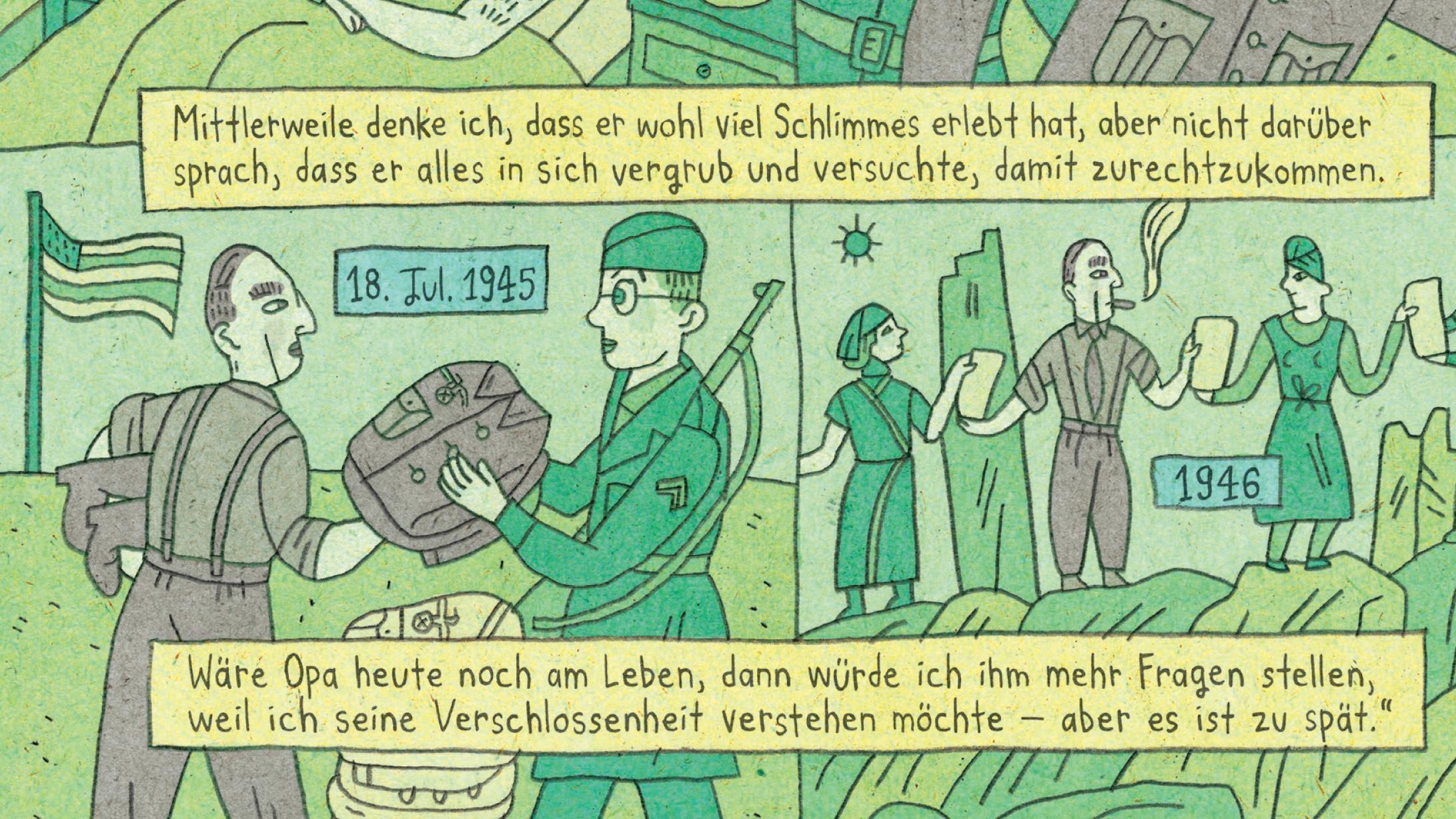 Im Buch von Nora Krug finden sich immer wieder Comic-Kapitel, die in ihrer Gestaltung auch an Bilderbögen erinnern. Hier reflektiert die Tante über den Großvater in Karlsruhe und über das Kriegsende.