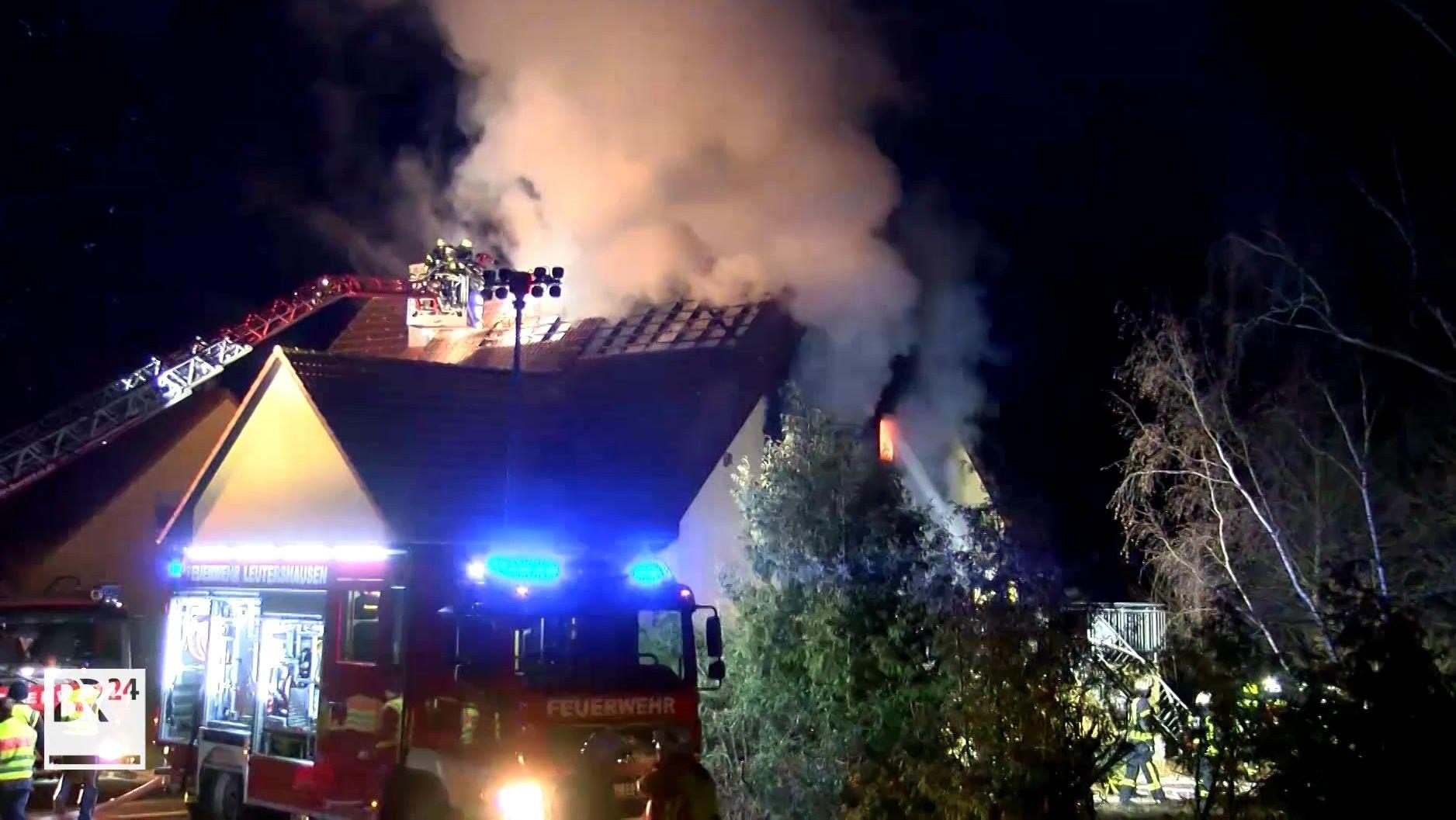 Brennenden Wohnhaus in Leutershausen