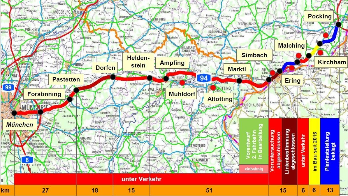 Aktuelle Übersichtskarte der A94 in Niederbayern