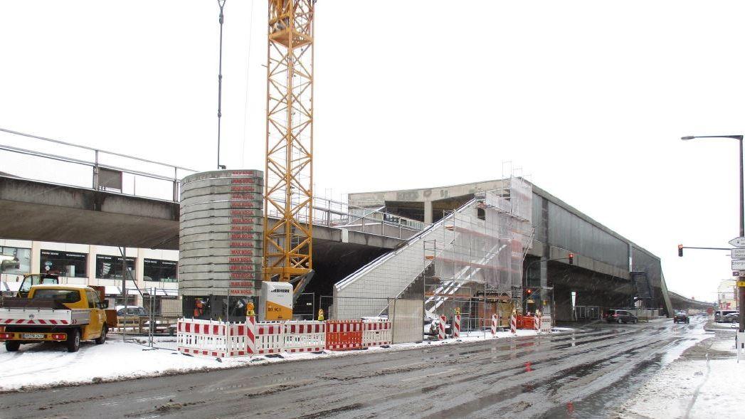 Bauarbeiten am U-Bahnhof Muggenhof
