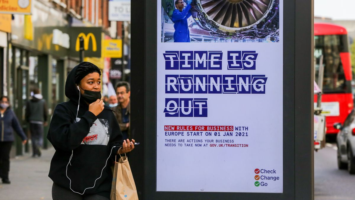 Die Zeit läuft ab: Das Plakat einer No-Deal-Brexit-Kampagne der britischen Regierung in London