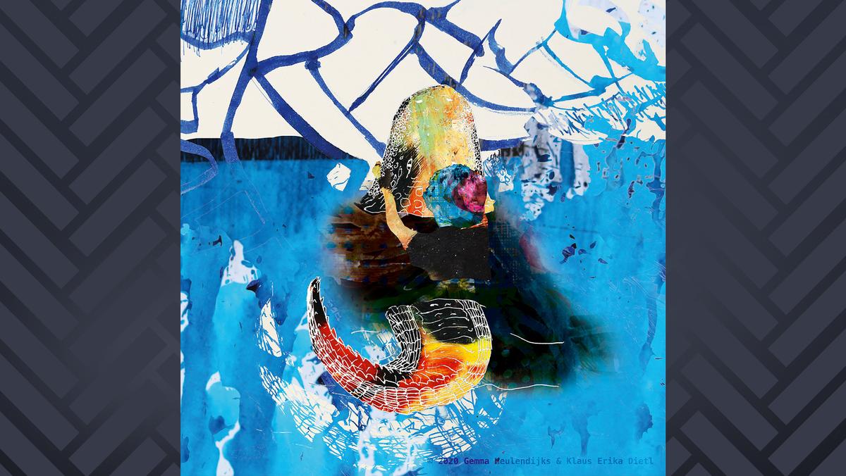 """Das Albumcover von """"Solange bunte Balken laufen, Episode 1"""" von Alligator Gozaimasu zeigt einen expressionistischen Alligator in blauer See"""
