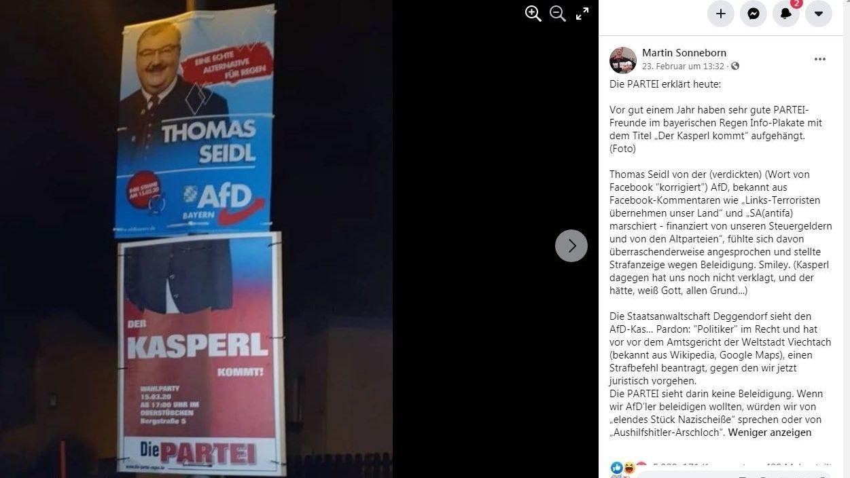 Screenshot der Facebookseite von Martin Sonneborn (Die Partei)