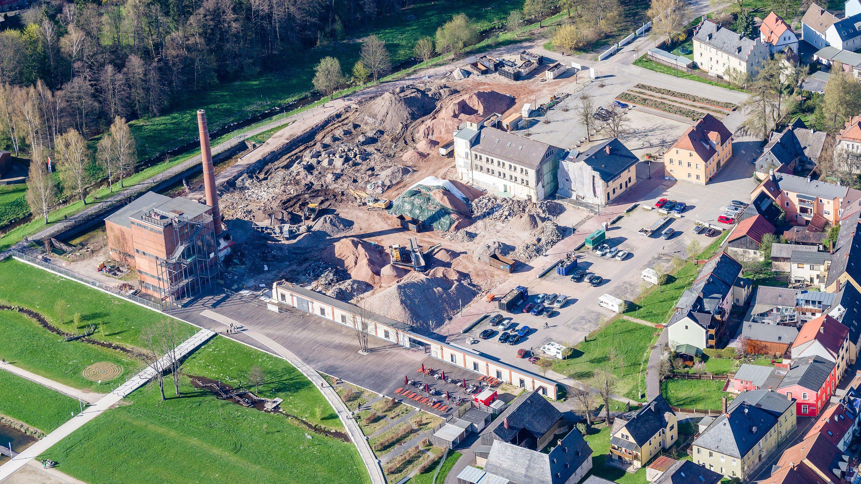 Luftaufnahme des ehemaligen Benker-Areals in Marktredwitz nach dem Abbruch der Fabrikgebäude.
