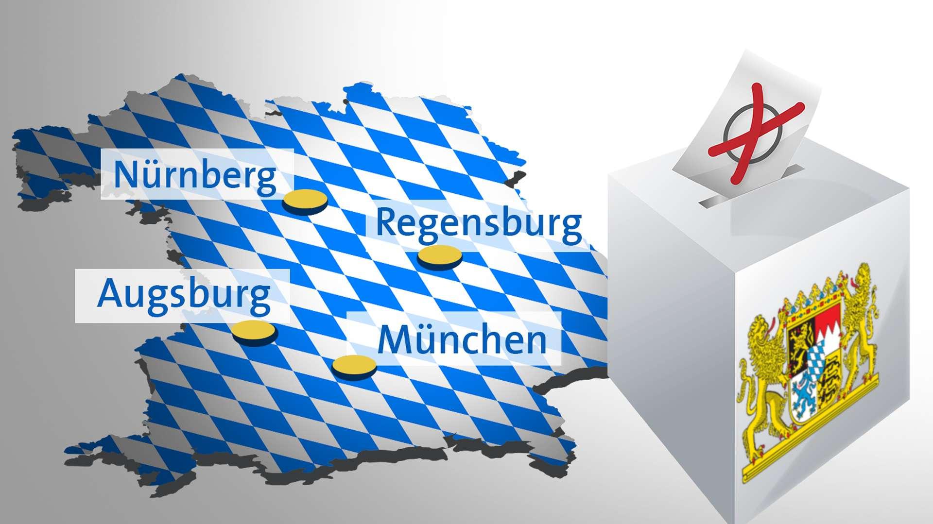 Symbolbild: Kommunalwahlen in München, Nürnberg, Augsburg und Regensburg