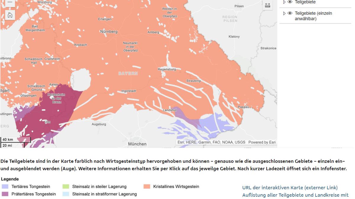Die Teilgebiete sind in einer Karte farblich nach Wirtsgesteinstyp hervorgehoben.