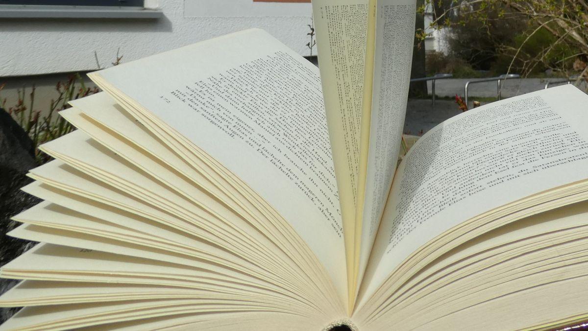 Ein aufgeschlagenes Buch vor der Stadtbücherei Hof