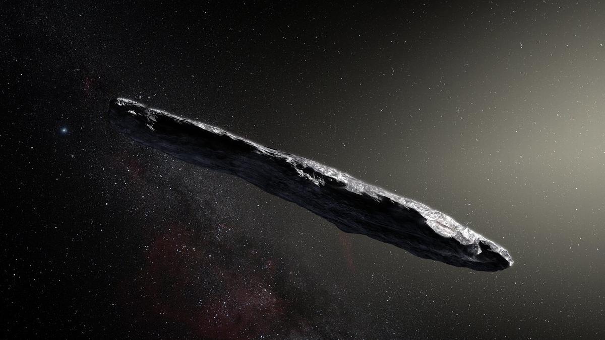 Der interstellare Asteroid 'Oumuamua (1I-2017 U1) wurde im Oktober 2017 von Hochleistungs-Teleskopen entdeckt. Das zigarrenförmige Objekt stammt höchstwahrscheinlich aus einem anderen Sonnensystem im All und ist bei uns nur kurz zu Gast. (künstlerische Darstellung)