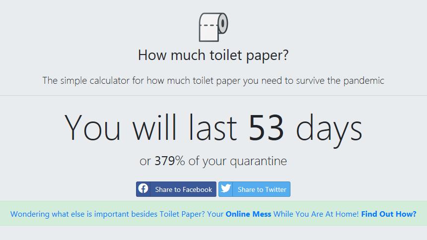 Wie lange reicht das Klopapier? howmuchtoiletpaper.com rechnet es aus