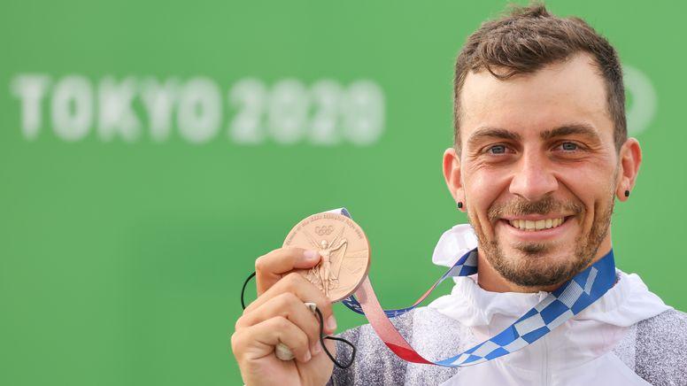 Sideris Tasiadis holte am Montag die Bronzemedaille im Kanu-Slalom bei den Olympischen Spielen in Tokio. | Bild:dpa / picture alliance