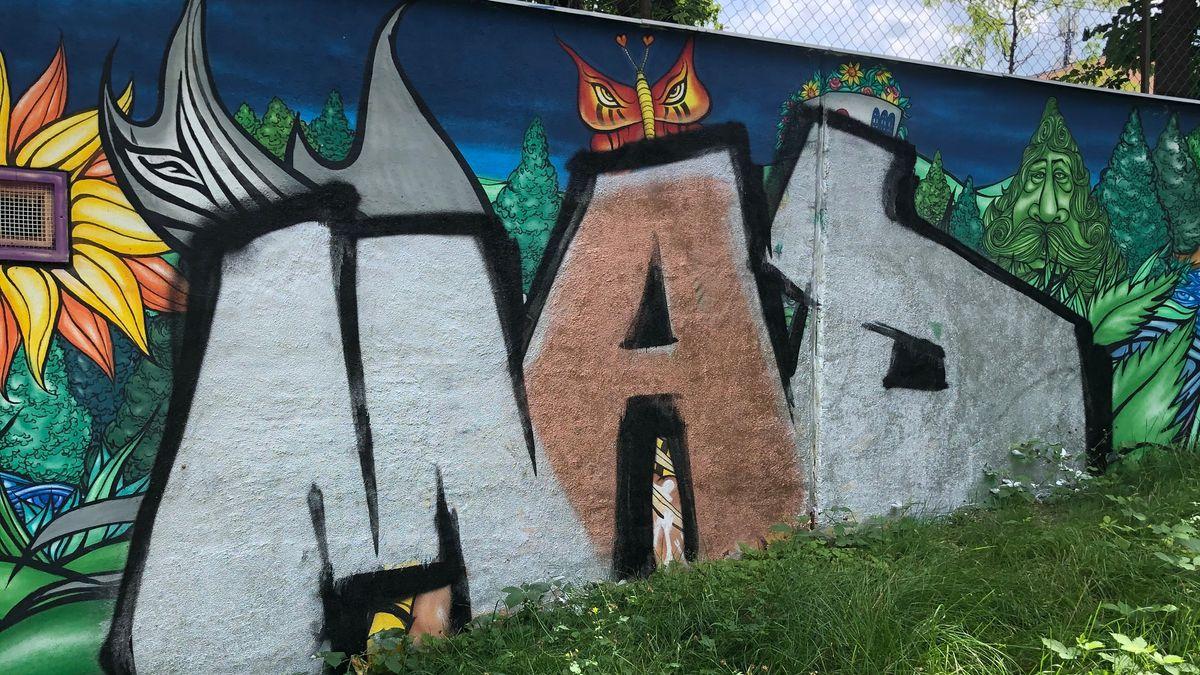 Das übersprühte Graffiti von Martin Blumöhr.