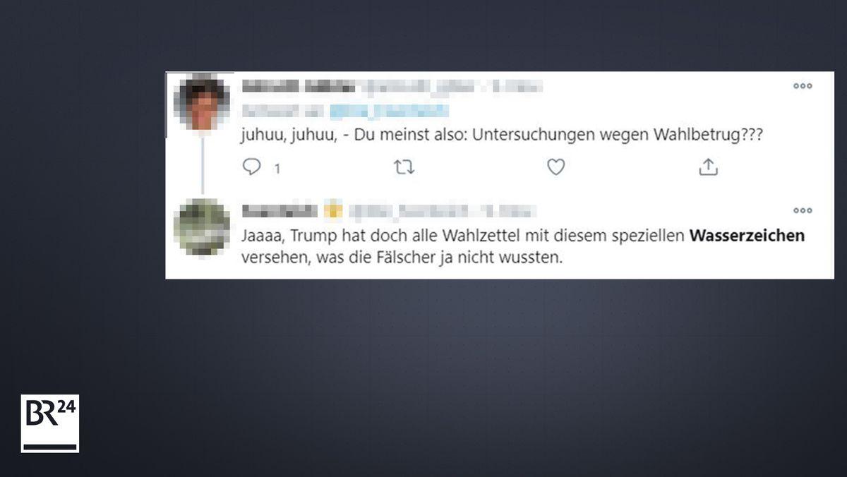Auch deutschsprachige Twitternutzer verbreiten das Narrativ, es gebe Wasserzeichen auf US-Stimmzetteln.