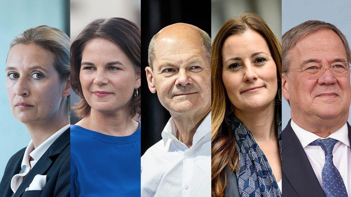 Alice Weidel (AfD), Annalena Baerbock (Grüne), Olaf Scholz (SPD), Janine Wissler (Linke), Armin Laschet (CDU)