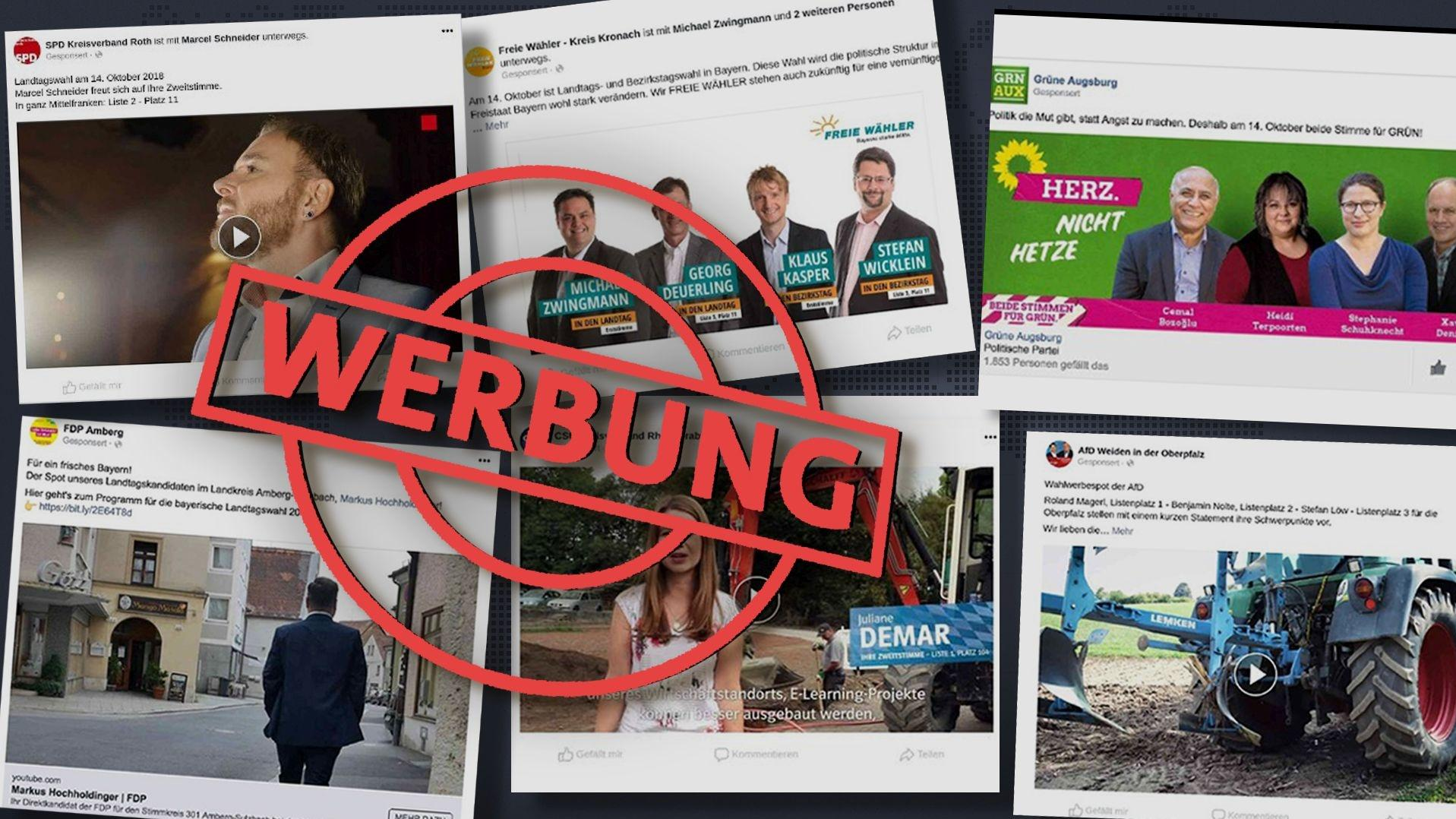 Wahlwerbung für bayerische Parteien auf Facebook